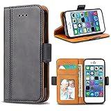 Bozon iPhone 5S Hülle, iPhone SE Hülle, iPhone 5 Hülle, Leder Tasche Handyhülle Flip Wallet Schutzhülle für iPhone 5/ SE/ 5S mit Ständer und Kartenfächer/Magnetic Closure (Dunkel-Grau)