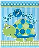 1.Geburtstag Boy, 8 Mitgebsel-Tüten mit niedlicher Schildkröte, ca. 18,5x22,5cm