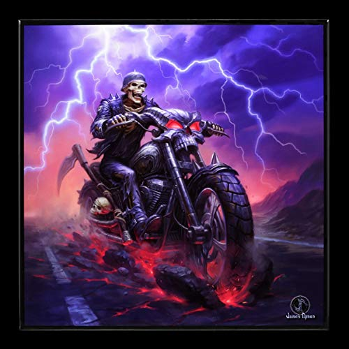James Ryman Gothic Hochglanz Bild mit Reaper - Hell on The Highway | Kunstdruck mit Resin versiegelt...