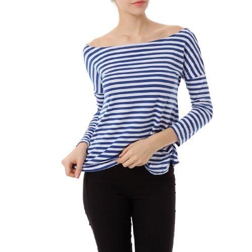Allegra K Femme Col Bateau Haut Haut Rayé Ourlet Courbe Top Pas Cher T-shirts Bleu