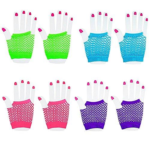 andschuhe Fingerlose Fischnetz-Handschuhe Handgelenk Diva Verschiedene Neon Farben (12Paar) (80er Jahre 90er Jahre Hip Hop Kostüme)