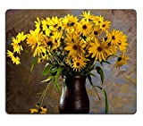 luxlady Gaming Mousepad Bild-ID: 22780770noch leben mit Strauß von hellen Gelb Blumen Rudbeckia in braun Vase
