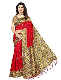 Fabwomen Sarees Floral Print Kalamkari Mysore Art Silk With Tassels Fashion Party Wear Women's Saree/Sari With...