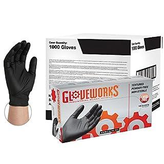 AMMEX - GWBL44102E0BX - Box of 100-5 mil Black Industrial Nitrile Disposable Gloves - GLOVEWORKS - Powder Free, Latex Rubber Free, Medium