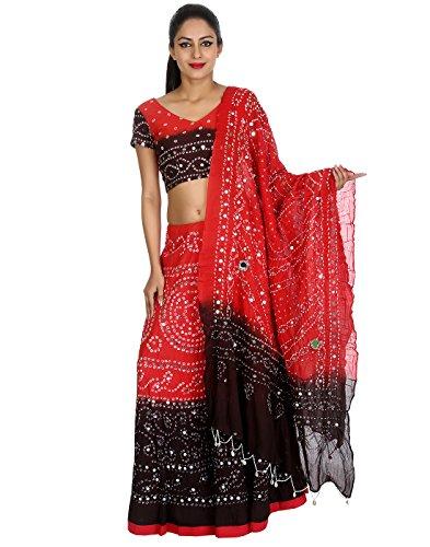 Frauen Tie Dye Lehenga Choli Red Von (Inspirierte Hippie Kostüme)