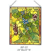 "Gweat HF-23 Pastoral Vintage Estilo Tiffany Vidrieras Hechas a Mano Iglesia Arte Uvas Ventana Ventana de Cristal Suncatcher, 18"" Hx15 W"