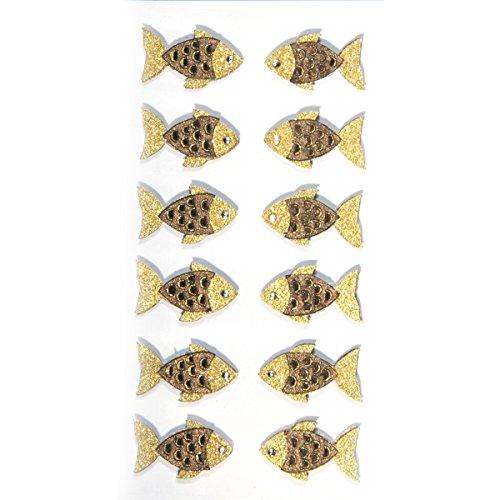 Artoz 3D Sticker | Fischschuppen gold| Handarbeit! | 1 Pack (12 Sticker) | Ideal zum Basteln für Einladungskarten, Tischkarten und Danksagungen für Kommunion Konfirmation Taufe Hochzeit