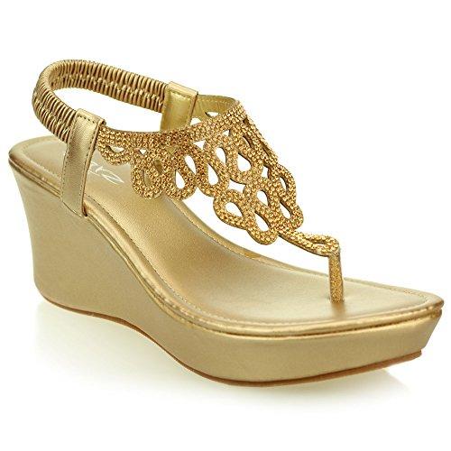 Signore delle donne casuale comodità di cuneo il formato dei pattini del tallone diamante sandalo (Nero, Champagne)