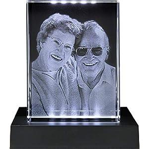 Galerie Kristall Massiver selbststehender Glas-Frame mit Wunsch-Foto und Wunsch-Text (80 x 105 x 30 mm, Hochformat, inkl…