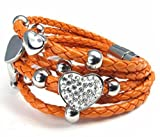 Feilok Klassik Leder weben Herz Armband/Armreif für Damen, aus Edelstahl, Orange