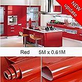 Haus-deko Mart HDM 5M * 61CM Papier Peint Adhésif Rouge en PVC Cuisine Film Mural Papier Autocollant Brillant Imperméable Sticker Meuble Décoration pour Chambre Salon