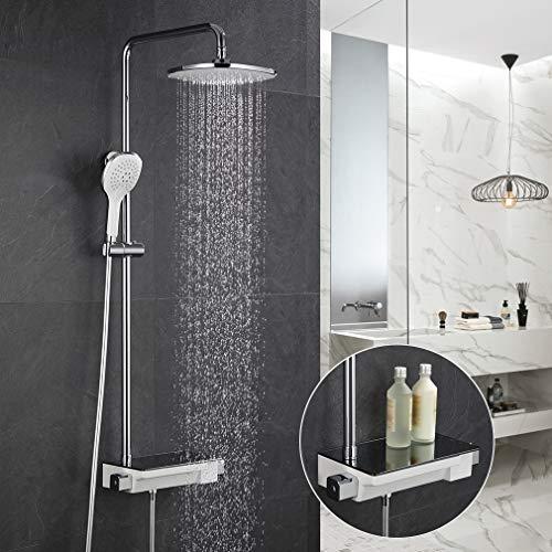 ubeegol Regendusche Duscharmatur Thermostat Duschsystem mit Ablage Duschgarnitur Aufputz Duschset inkl. Überkopfbrause Duschkopf Brausestange Dusche Set für Bad