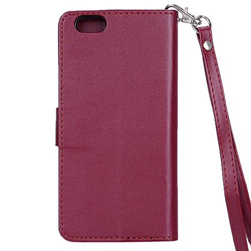 iPhone SE Hülle,iPhone 5S Hülle,SainCat Apple iPhone SE/5S/5 Leder Wallet Tasche Handyhülle [Diagonal Rose Muster] Ledertasche Brieftasche im BookStyle PU Leder Hülle Wallet Case Folio Rose Gold Schut Golden Butterfly-Burgund braun