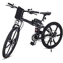 cooshional Bicicletta elettrica pieghevole Mountain bike cerchi a raggi in lega di alluminio Potenza: Sotto 500W nero