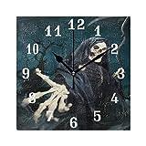DOSHINE Wanduhr, Halloween-Totenkopf-Sensenmann, leise, Nicht tickende Uhr, Schlafzimmer, Wohnzimmer, Küche, Heimdekoration