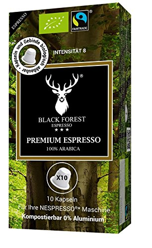 100% Kompostierbare, recyclebare, kompatible Bio Kapseln 60 Stück. Black Forest Premium Espresso. Kompatibel für Nespresso* Maschinen. 0% Aluminium-Fair Trade