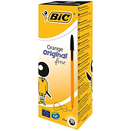 BIC Kugelschreiber Orange fine/20 Kulis in Schwarz | Strichstärke 0,35 mm - fein | Dokumentenecht