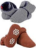Tatuo 2 Pairs Baby Winter Booties Infant Crib Boots Newborn Baby Slippers with Anti-Slip Bottom Sole for Infant Toddler Supplies (12 cm, Color Set 1)
