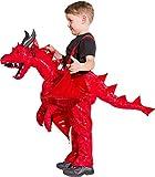 Roter Drache Huckepack Kostüm für Kinder - 3 bis 5 Jahre - Drachenkostüm zum Hineinsteigen Reiten Ritterspiele Burgfest Mittelalter Party