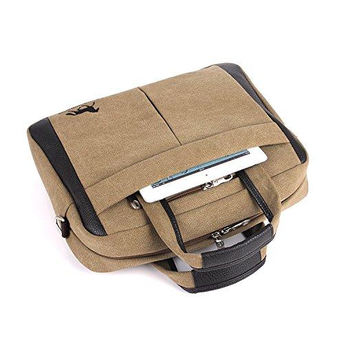 Outreo Herren Umhängetasche Kuriertasche Aktentasche Vintage Schultertasche Herrentaschen Retro Messenger Bag Canvas Taschen für Laptop Tablet Schule Reisetasche Handtasche Beige