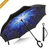 Double Couche Parapluie Inverse de Voyage Parapluie Femme Inversé Coupe-Vent Anti-UV Soleil Pluie Meilleur Compact Voyage Parapluie SKY TEARS (Ciel étoilé, XL)
