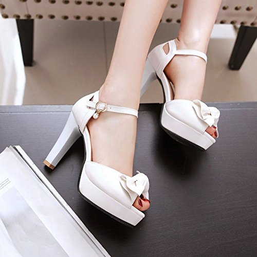 Mee Shoes Damen high heels ankle strap Peep toe Sandalen Weiß