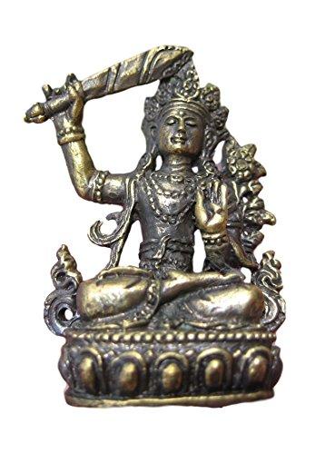 Manjushri-statue (Himalayan Treasures Messing Metall Manjushri Statue Figur Amulett buddhistischen Bodhisattva-Gottheit A12)