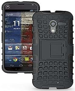 Wellmart Hybrid Defender Military Grade Armor Kick Stand Back Case Cover for Motorola Moto X 1st Generation (Black)