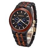 Uhren Holz Herren, BEDATE W145A Analoge Multifunktions Quarzuhr mit Anzeige von Tag und Datum Sowie mit 24-Stunden-Anzeige Retro Wasserdichte Armbanduhr für Herren (Multi 1)