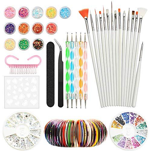 Nail Art Design Set Kit Pennelli Decorazioni Adesivi Nastro Decorazioni Strass YZPUSI Nail Art Kit Attrezzi per Unghie 3D Argento Colorate