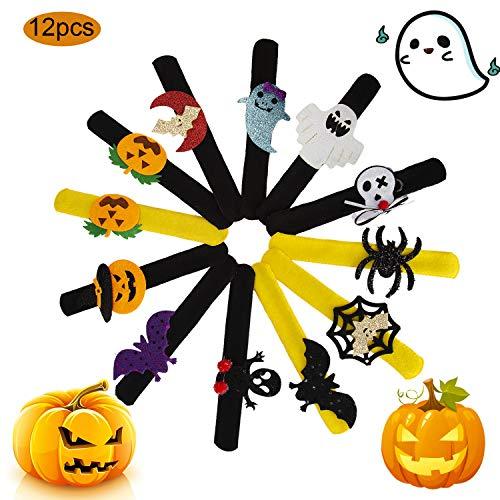 AIEX 12 Stück Slap Armbänder Halloween Schnapparmband mit Spinnen Kürbis Ghost Design Slap Band für Jungen und Mädchen Halloween Partyzubehör (Mädchen-band Zwölf)