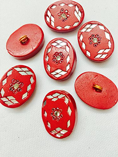 3 Pieces of Papal Colour Meena work button red and mirrors in...