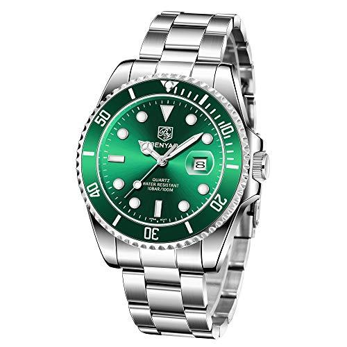 Benyar orologio da uomo da uomo impermeabile da polso al quarzo analogico in acciaio inossidabile impermeabile