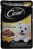 Cesar Hundefutter Feines im Frischebeutel/Hochwertiges Nassfutter für eine 100% ausgewogene Mahlzeit/Huhn und Gemüse in Sauce / 24 Portionsbeutel, (24 x 100 g)