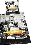 Bavaria Home Style Collection - Bettwäsche Set - gelb, grau, schwarz | Garnitur mit Motiv New York Taxi gelb | Gr 135 x 200 + 80 x 80 cm | Farbe Grau Gelb Schwarz