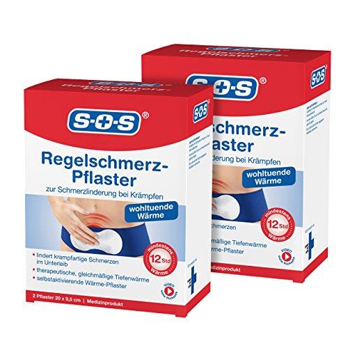 SOS Regelschmerz-Pflaster (2er Pack) | Schmerzlinderung bei Krämpfen | Regelschmerzen Periode Zyklus Krämpfe im Unterleib | Medizinprodukt | mindestens 12 Stunden Wärme