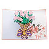 3D Pop Up Greeting Card - Pink Lily Calling Youth of Springtime Charm - Miss You Card Anniversary Card Thanksgiving Cards Thank You Card (Pink Lily)