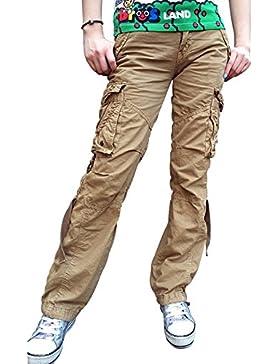 Urbanboutique Da donna lottare Casuale Carico Sei Tasca Cotone Esercito Militare calzoni Pantaloni