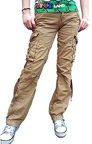 Urbanboutique Damen Cargohose, 6 Taschen, Baumwolle, Armee-Militär-Hose Gr. S, Khaki
