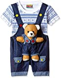 #5: kuchipoo Unisex Regular Fit Cotton Dungaree (KUC-DUN-101_1 Years - 1.6 Years_Blue & White)