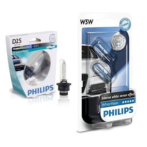 2X Philips 85122XVS1 - Xenon X-treme Vision D2S, confezione singola + Philips 12961NBVB2 White Vision Lampada Alogena 12V , 5W, 60% di Luce in Più sulla Strada, 4300K, confezione da due pezzi