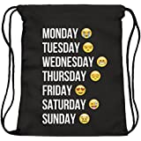ocona© Sac de gym/ Sac de sport à cordons/ Emoji/ Jours de la Semaine/ Week/ Noir