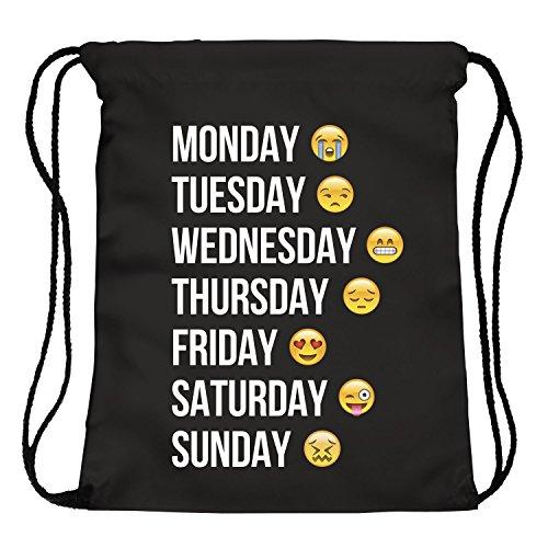Imagen de ocona© emoji emoticons smileys turn bolsa  bordar stringbag week, negro