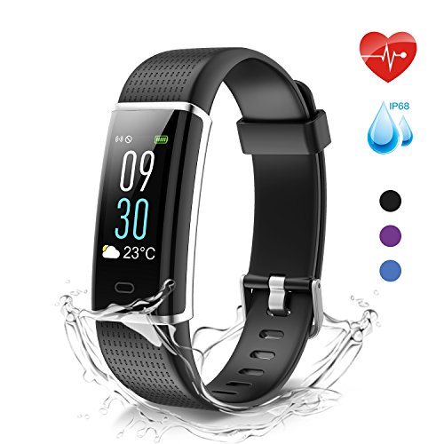 moreFit Glow Fitness Trackers, Waterproof IP68 Heart Rate Monitor Activity Tracker with Weather Report, Full Color Touch Screen Smart Bracelet Wrist Pedometer Watch with 14 Exercise Modes, Black