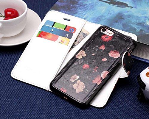 Coque iPhone 8 Etui iPhone 7 Slynmax [Motif de Fleur] Luxe Mode Peint Housse Flip Cover Clapet 2 en 1 Coque Protecteur en Cuir Coque Silicone Housse Dragonne Support et Carte de Crédit Slot iPhone 7 8