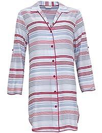 Cyberjammies 3277 Women s Heidi Blue and Red Stripe Modal Pajama Sleepwear  PJS Nightshirt 9ba3ac033