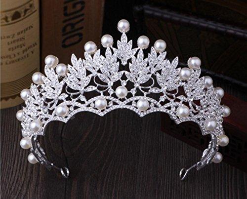 Queen Bride Strasssteine Krone Perle Braut Tiara Hochzeit Party Abschlussball KöNigin Haar ZubehöR Silber Weiss