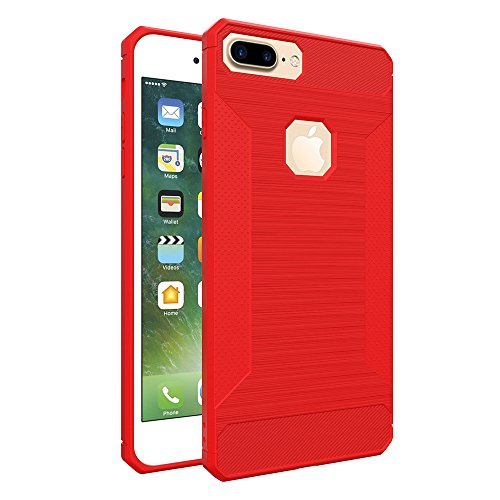 Custodia per iPhone 7 Plus,per iPhone 8 Plus Cover, ZCRO Semplice Stile Flessibile Custodia Silicone Carbonio Antiscivolo TPU Gomma Morbida Bumper Protettiva Antiurto Resistente Case Cover per iPhone Rosso