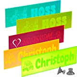 Namensschilder Für LKW und PKW aus Acrylglas, Plexiglas,Fluoreszierend ohne LED - selsbtleuchtend inkl. trans. Saugnäpfe - 550 x 150 mm