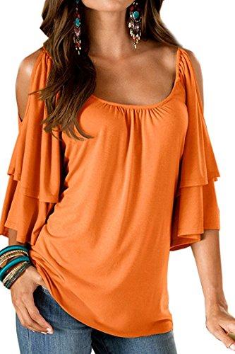 Landove T-Shirt Col Bateau en Lâce de Couleur Uni Blouse Manche Courte pour Femme Orange XL